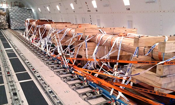 Air Freight project cargo inside airplane