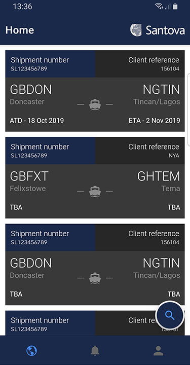 Santova Logistics mobile app showing customers current shipments
