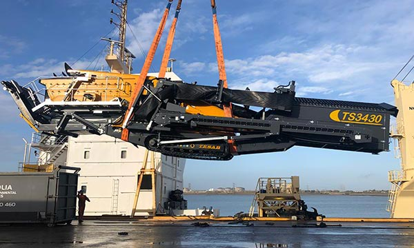 Tracked vehicle being shipped to the Caribbean